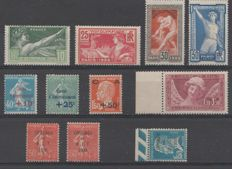 France 1924/1930 - Selection 1920s-30s - Yvert 183/186, 246/248, 264/265, 264a, 256