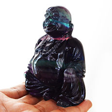 Top Rare Fluorite Laughing Buddha - 89x58x42 mm - 1835 cts