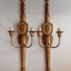 Two gold-plated wooden wall appliques - 20th century