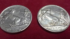 Kingdom of Italy - 10 Lire 1927 and 1929 Vittorio Emanuele III (2 coins) - silver