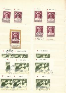 Belgium 1920/1960 - collection of cancelled advertisement and inverted stamps