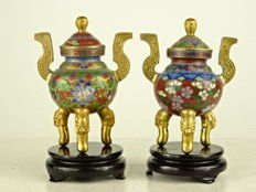 Two small champleve and cloisonné censers - China - second half of the 20th century