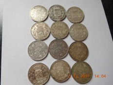Belgium - 5 francs 1868, 1869, 1870, 1871, 1872, 1873 and 1875  Leopold II - 12 coins - silver