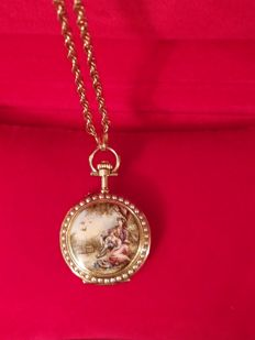 Victorian period( 1850) Exquisit French 18kt Gold, Polychrome Enamelled Pendant with hidden Watch.