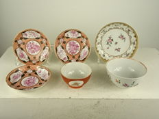 Four famille rose saucers and two bowls - China - 18th century