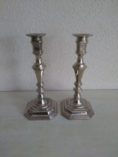 Pair of silver plated candle stands, BMF, 1981