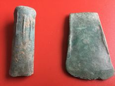 Bronze age chisel and axehead - 60 - 65 mm (2).