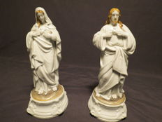 Porcelain D ' Andenne - 2 Sacred Heart statuettes Jesus and Mary