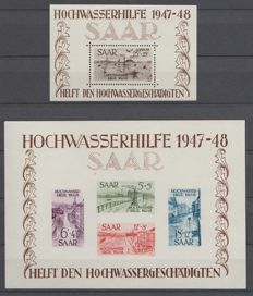 Saarland 1948 - Flood aid - Michel block 1 + 2