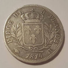 France - 5 Francs 1814 I (Limoges) - Louis XVIII - silver