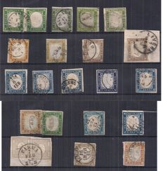 Sardinia, 1851/1863 - Sardinian stamps of various colours, with interesting cancellations (Spaccafurno)