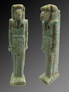 Egyptian faience amulet of Thoth with a face of Ibis - 44 mm