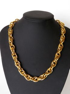 Napier heavy gold plated double chain necklace  - 51 cm
