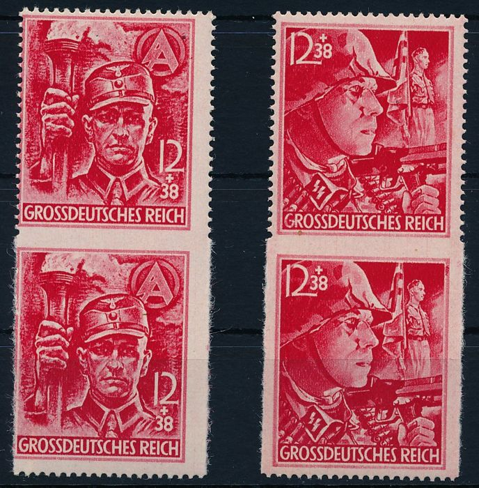 German Reich - 1945 - SA/SS - two partial perforate sets in pairs, Michel 909-910