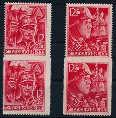 German Reich - 1945 - SA/SS - Michel 909/10 m two partial perforate sets in pair