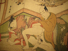 Erotica; Japanese scroll with coloured erotic scenes - 2nd half 20th century