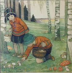 "School Poster for the lowest classes AUTUMN. "" Mushroom picking"" drawn by B. Midderigh-Bokhorst. Lithography on thick paper with passe-partout."