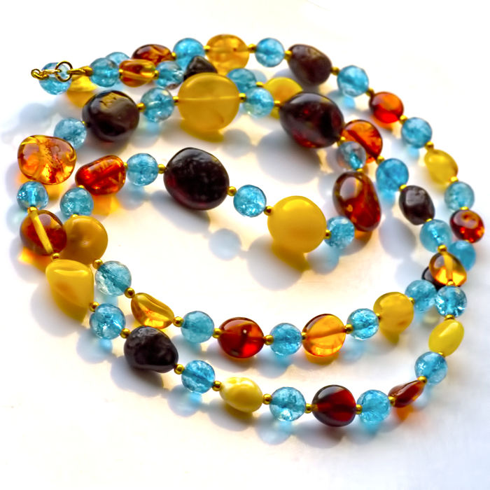 Kyanite and Baltic Amber necklace - Length 81 cm, 14kt gold clasp