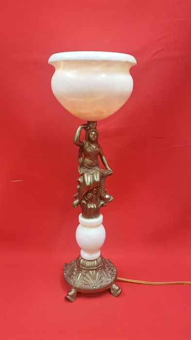 Brass / bronze figurative lamp with onyx