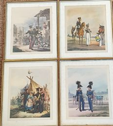 4 original framed military lithographs - German officers 1870-1880