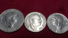 Kingdom of Italy - Lot of 3 coins Vittorio Emanuele (3 coins) - silver