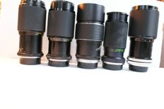A lot of 5 lenses: a Panagor E Auto Zoom, a Panagor PMC, a Soligor C/D, a Kenlock-MC Tor and a Protonar Auto Tele, various years of production