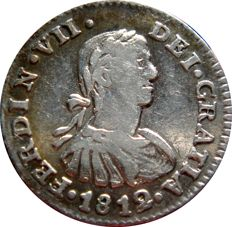 Spain - Fernando VII (1808–1823) silver 1/2 real, 1812 - Mexico. H·J