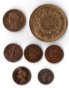 France - lot of 7 tokens and coins from the 19th century - bronze