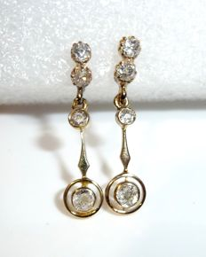 Earrings 14 kt / 585 gold, 8 natural diamonds in old cut, in total approx. 0.80 ct, around 1900