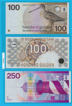Netherlands - 100 guilders 1977, 100 guilders 1992 and 250 guilders 1985 - PL104.a1 , PL105.b and PL110