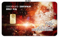 "2 pieces Nadir PIM gold bars - 0.5 g of fine gold each - purity 999.9/1000 24-carat gold - gift card motif ""Frohe Weihnachten"" (Merry Christmas) - gold bar - 1 g gold bars in credit card format, in a blister - LBMA-certified"