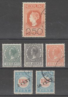 The Netherlands 1906/1924 - Clearance sale, Exhibition and Postage due overprint - NVPH 105, 136/138, P27/P28 type III