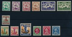 Gdansk - 1920 - 1921 - lot of 3 mint, never hinged sets with 5 stamps with tips overprinted on bottom, Michel 30 II