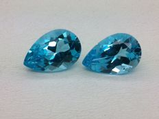Pair of London blue topazes of 13.63 ct in total