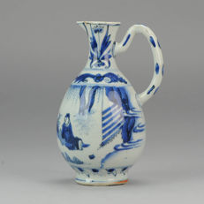 Chinese Porcelain Jug Ewer Transitional Chongzhen Scholars Tulips - China - Ca 1650