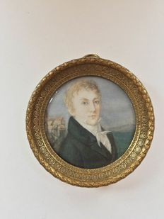 Miniature portrait of Alex von Einsiedel (1777-1840), German school, 19th century