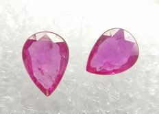Couple of 2 Ruby Intense Pinkish Red 1.07 ct Fine color   -No Reserve