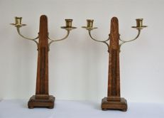 A set of standing Art Deco chandeliers, wood with copper