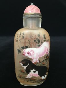 Chinese 12 zodiac pure handwork inside painted snuff bottle - Pig