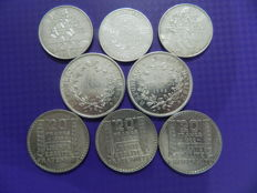 France - Lot of 8 coins (10 Francs to 100 Francs) 1933/1990 - silver