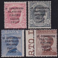 Italy 1922 - Philatelic Convention, complete series of 4 high-quality stamps - Sassone 123/26