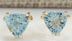 2.11 Carat Aquamarine 14K Solid Yellow Gold Stud Earrings - Face Measures: 7.75x8.80 Millimeters - No Reserve