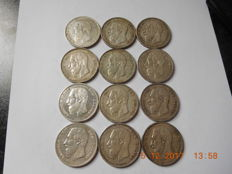 Belgium - 5 francs 1868, 1870, 1871 and 1873, Leopold II - 12 coins - silver