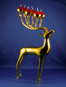 Large golden deer candle holder - Christmas