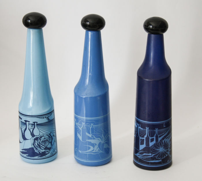 'Rosso Antico' - complete series of three bottles, with design by Salvador Dalì