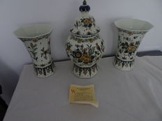 Porcelyne Fles - Three piece cabinet set with multicoloured floral and bird decor and certificate