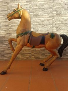 Large horse made of carved wood