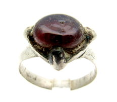 Saxon Era Silver Ring with Red Amber Stone - WEARABLE GIFT WITH GIFT BAG- 17 mm