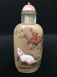 Chinese 12 zodiac pure handwork inside painted snuff bottle - mouse