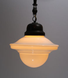 Art Deco pendant light with milk glass shade